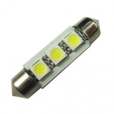 Lâmpada Torpedo 3 Led Smd 5050 Branca Placa 36 42mm 12v