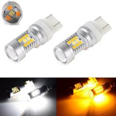Lampadas T20 7443 28 Led Smd Cree 3535 Drl Pisca Duas Cores