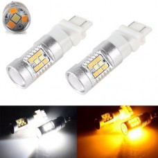Lampadas T25 3157 28 Led Smd Cree 3535 Drl Pisca Duas Cores